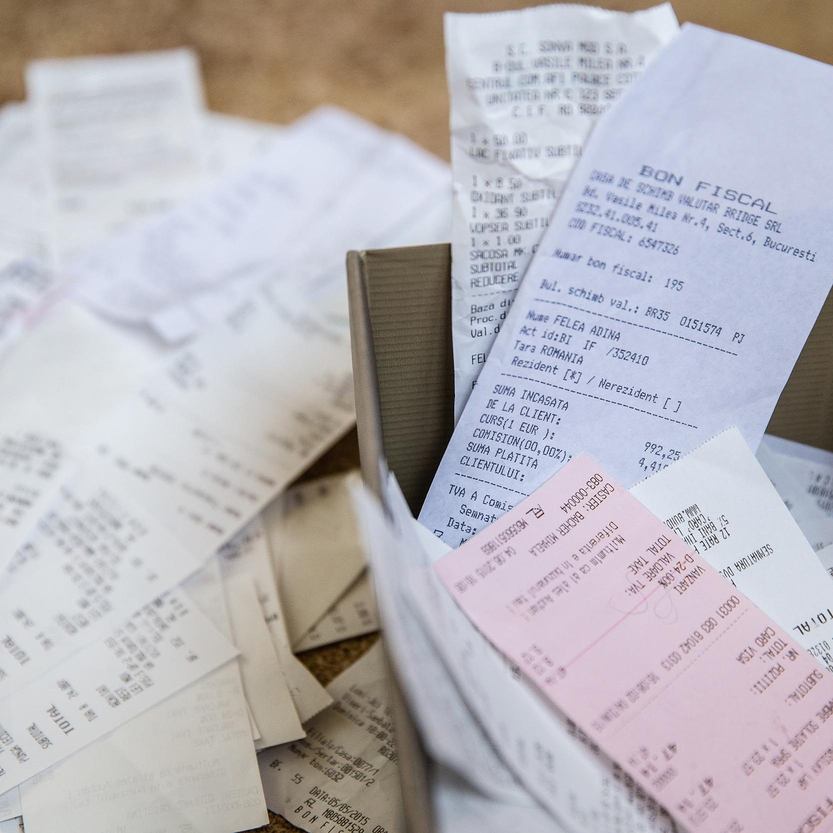 box of receipts